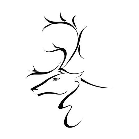 Silhouette of a deer head in profile isolated on white background. Vector illustration. Illustration