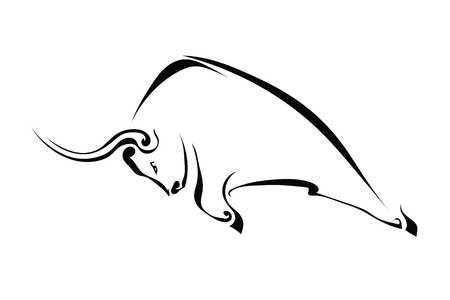 Profile of a bull isolated on a white background. Trademark farm. Vector  illustration.