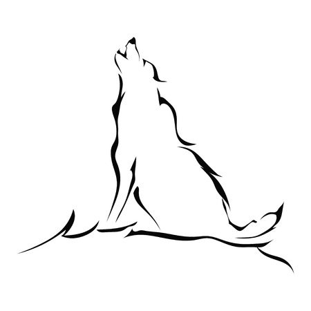 Silhouette of a wolf howling isolated on white background. Vector illustration.