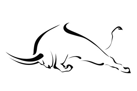 Silueta de un toro en una pelea en el perfil sobre un fondo blanco. Granja Marcas. Ilustración del vector.