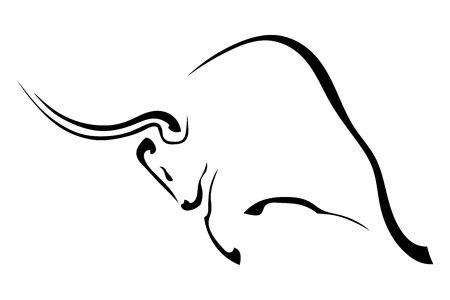 Black silhouette in profile of an aggressive bull isolated on white background. trademark farm. Vector illustration.