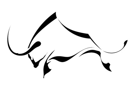 Black silhouette in profile bull isolated on white background. trademark farm. Vector illustration.