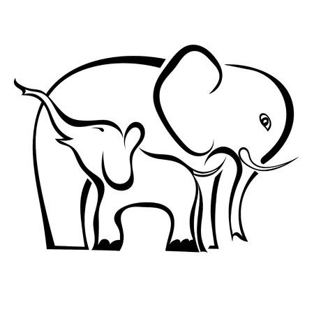 Lindo Pequeño Elefante Con Mamá. Ilustración Del Vector En Plana Del ...