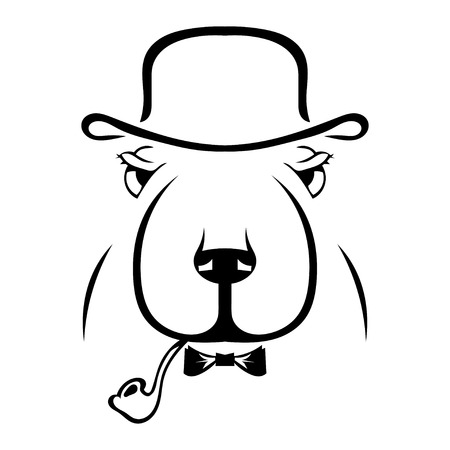 detective agency: Silhouette of a dog in a hat and a pipe. Hipster. English style. Vector illustration.