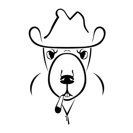 detective agency: Silhouette of a beaver in a hat and a cigarettes. Hipster. English style. Vector illustration.