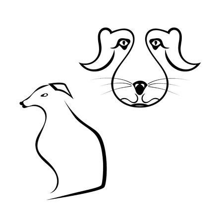 st bernard dog: Set of dogs silhouette isolated on white background. Vector illustration. Illustration