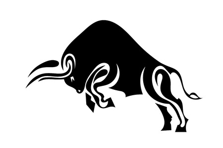 hind: Bull in profile standing on its hind legs. Vector illustration.