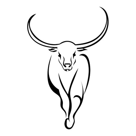 frontal: Frontal bull walking isolated on white background. Vector illustration.