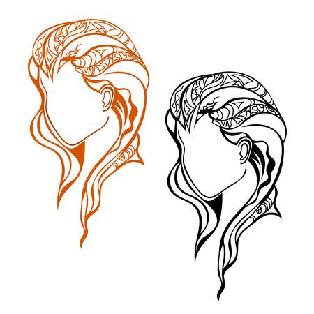 cabeza femenina: Aislado perfil de la cabeza femenina Dos. Tribal. Ilustraci�n del vector.