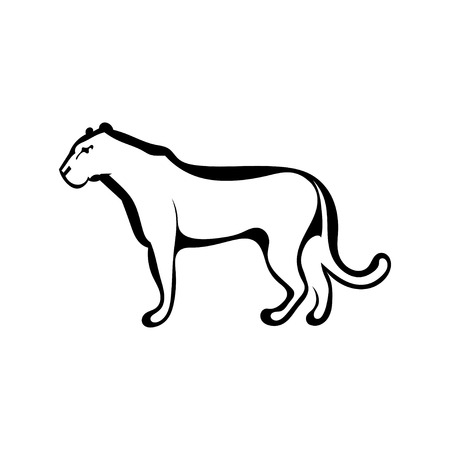 Sketch silhouette profile of a lioness. Isolated. Vector illustration.