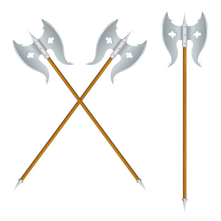 halberd: Crossed halberds on white background. Vector illustration