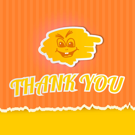 Thank you on orange striped paper.  Vector
