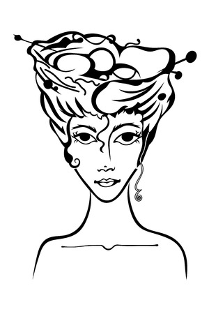 primeval: Girl with a nest in her hair isolated. Primeval. Vector illustration.