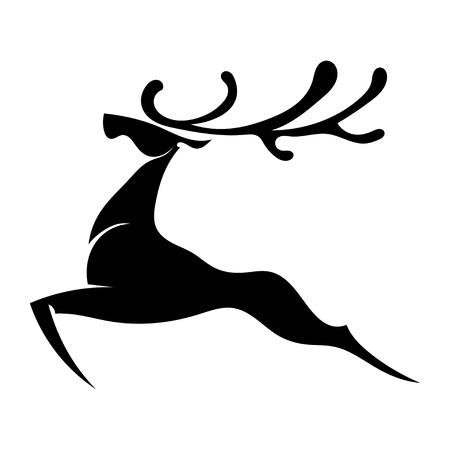 reindeers: The black silhouette of a deer jumping with big horns. Isolated. Vector illustration.