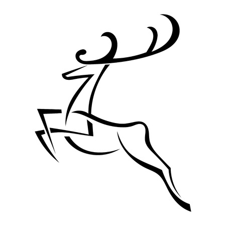 black family: Silhouette of deer with large antlers isolated on white background. Vector illustration.