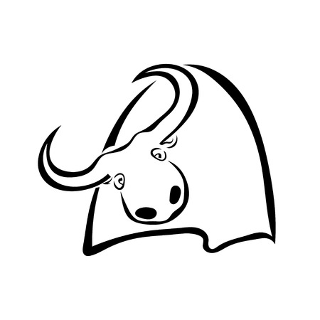 Single black silhouette of a cow on a white background. Vector illustration. Illustration