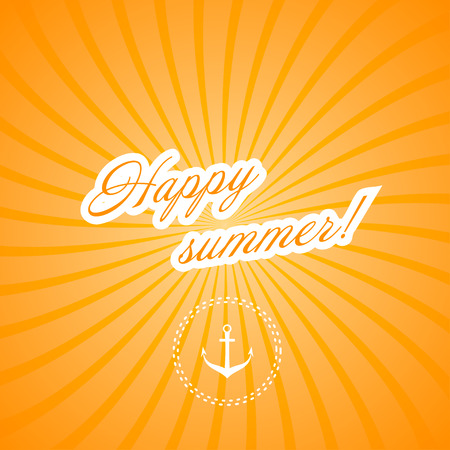 happy summer: Marine yellow background. Happy summer! Vector illustration.