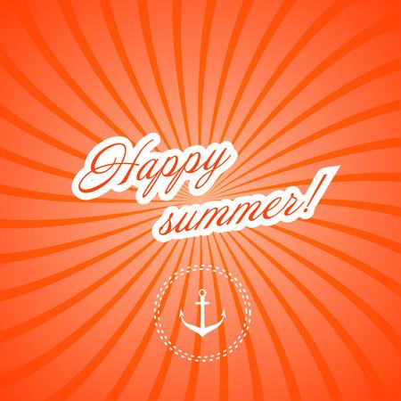 happy summer: Marine red background. Happy summer! Vector illustration.