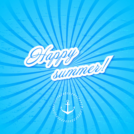 fun: Blue background with anchor. Water. Vector illustration. Illustration