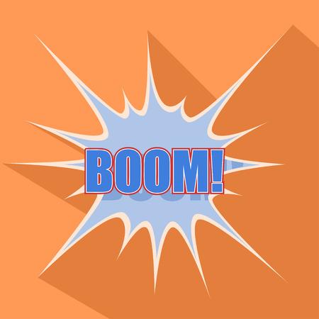 fission: Boom Cartoon blue. Vector illustration.