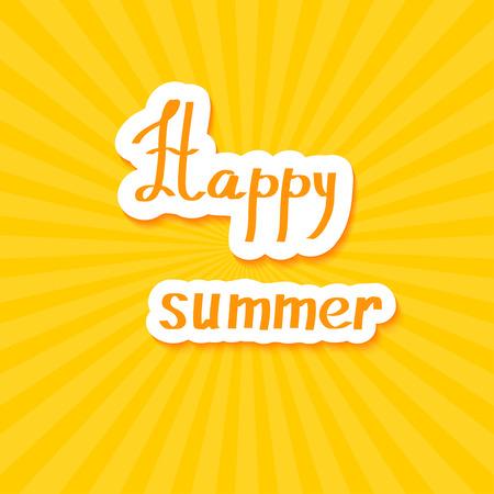 happy summer: Yellow summer background. Happy summer! Vector illustration. Illustration