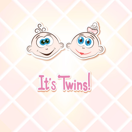 children only: Children twins on a light background. Cartoon. Vector illustration. Illustration
