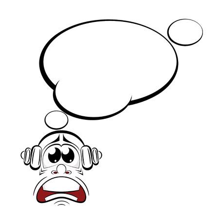 sneer: Cartoon sad with headphones. Music lover. Vector illustration. Illustration
