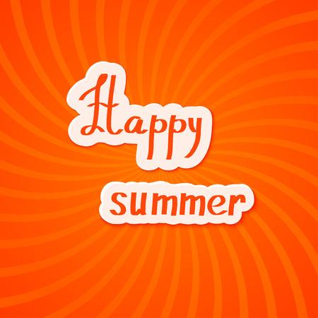happy summer: Bright red summer background. Happy summer! Vector illustration. Illustration