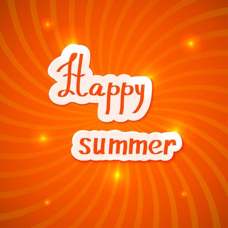 happy summer: Red summer background. Happy summer! Vector illustration.
