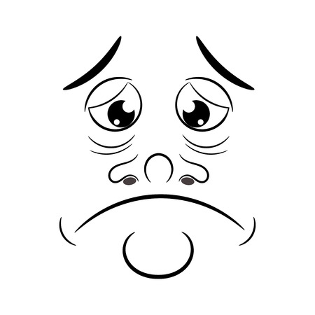 character traits: Cartoon sad. Vector illustration. Illustration