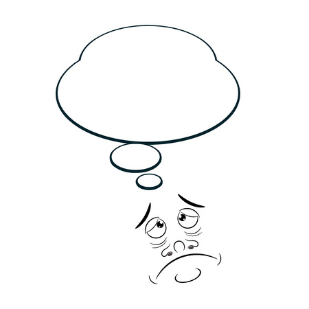 character traits: Sad Cartoon with bubble isolated on white background. Vector illustration.
