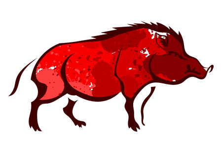 wild hog: Red wild boar isolated on white background. Watercolor. Vector illustration. Illustration