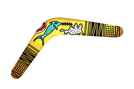 red kangaroo: Tribal Boomerang isolated on white background. Tribal style. Vector illustration. Illustration