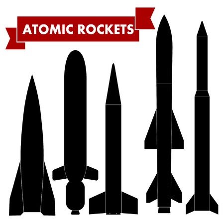 atomic: Set of atomic rockets. Vector illustration