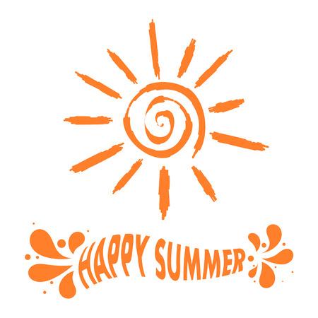 """illustrazione sole: Illustrazione del sole segno con il testo """"Estate felice!"""" Illustrazione vettoriale"""