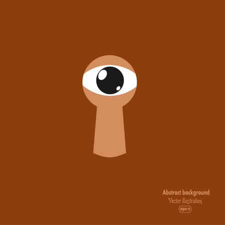 peek: Brown background with an eye to the keyhole. Vector illustration