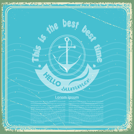 Grungy vintage blue background with a sea anchor. Vector illustrator Vector