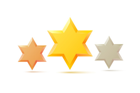 jewish star: Set. Israel Star of David symbol. Jewish religious culture. Isolated on white background. Vector illustration.