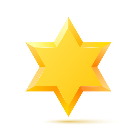 Israel Star of David symbol. Jewish religious culture. Isolated on white background. Vector illustration. Vektoros illusztráció