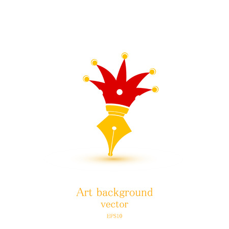 art product: Brush with a stylized crown isolated on a white background. Scribe. Vector illustration. Symbol of art. Sketch for your design typographic product. Logo.