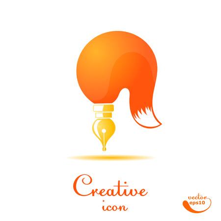 lapiceros: Cepillo y cola de zorro estilizado aislado en el fondo blanco. Escriba. Ilustración del vector. Símbolo del arte. Boceto de su diseño tipográfico producto. Logo.