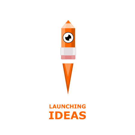 The launch of a pencil isolated on white background. Launching ideas. Inspiration. Design product. Vector illustration. Illustration