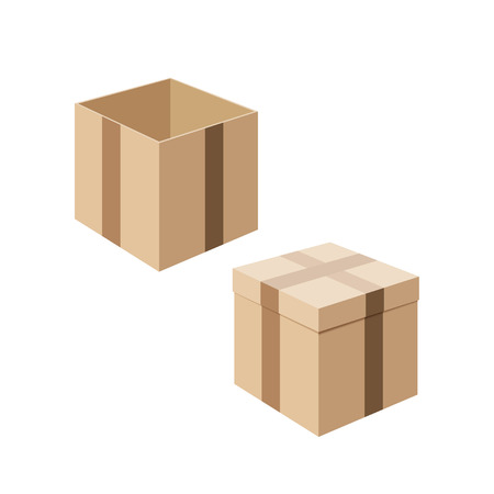 Set of cardboard boxes isolated on white background. Containers for transporting your goods. Packaging and storage of the product. Vector illustration.