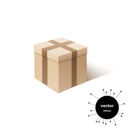 transporting: Cardboard box isolated on white background. Containers for transporting your goods. Packaging and storage of the product. Vector illustration. Illustration