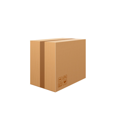 corrugated box: Corrugated box isolated on white background. Beware, the glass! Packaging storage transportation your product. Vector illustration.