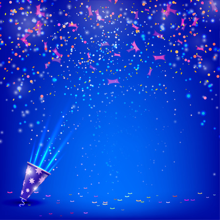 Banner for your holiday with confetti and streamers on a blue background. Vector illustration.