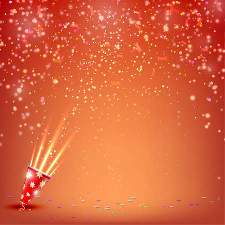 confetti: Banner with confetti and streamers on a red background. Vector illustratio