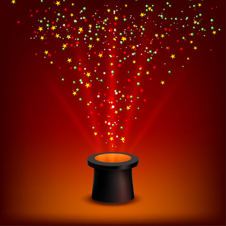 conjurer: Conjurer hat with rays and confetti on a red background. Vector illustration