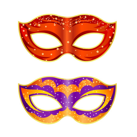 operetta: Two bright fancy mask on a white background. Isolate. Vector illustration