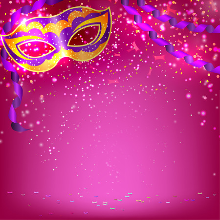 Pink banner with theatrical carnival mask. Design your theater cultural events, masquerade, carnival. Vector illustration.